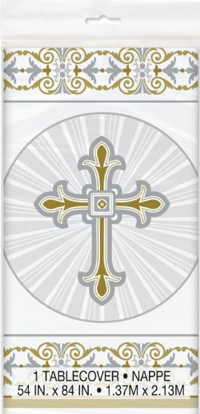 Silver & Gold Radiant Cross Plastic Tablecover